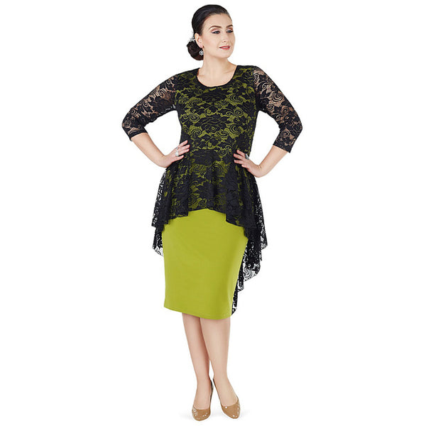 Dress with Peplum Lace Top and 3/4 Sleeves (Black and Green)