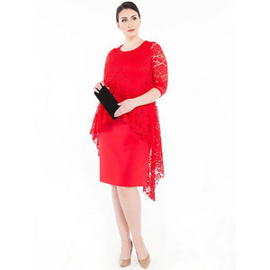 Dress with Peplum Lace Top and 3/4 Sleeves (Red)
