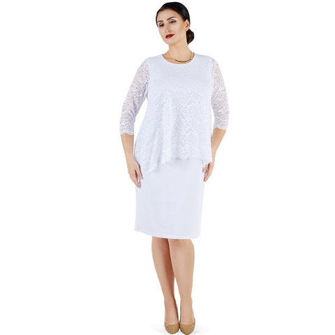 Dress with Peplum Lace Top and 3/4 Sleeves (White)