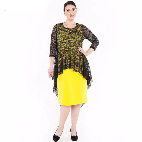 Dress with Peplum Lace Top and 3/4 Sleeves (Black and Yellow)