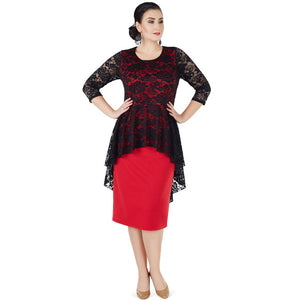 Dress with Peplum Lace Top and 3/4 Sleeves (Black and Red)