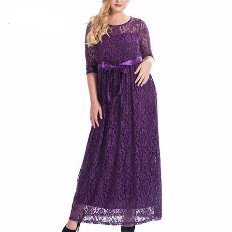 Elegant O-neck Belted Party Lace Maxi Dress