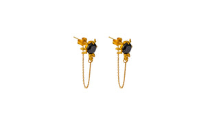 Black Spinel Spider Earrings