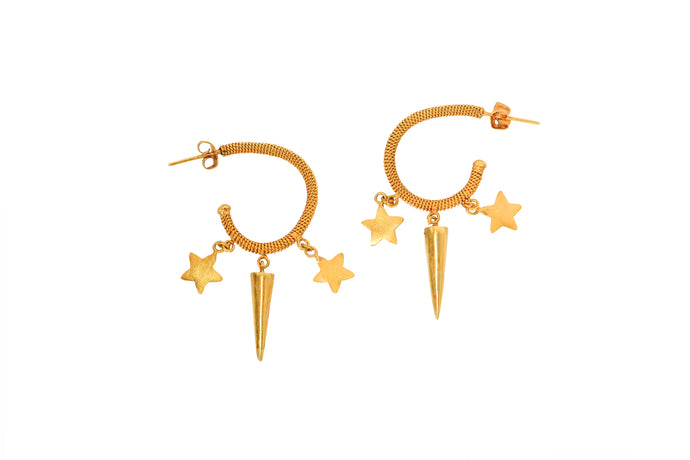 Half Circle Star and horn Earrings