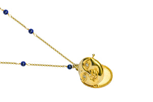 Full Moon Lapis Locker Necklace