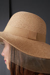 Wide Brim Mesh Edge Ribbon Straw Sun Hat