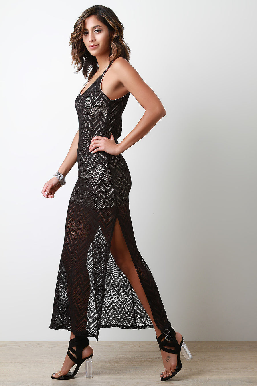 Sleeveless Semi Sheer Mesh Double Slit Maxi Dress