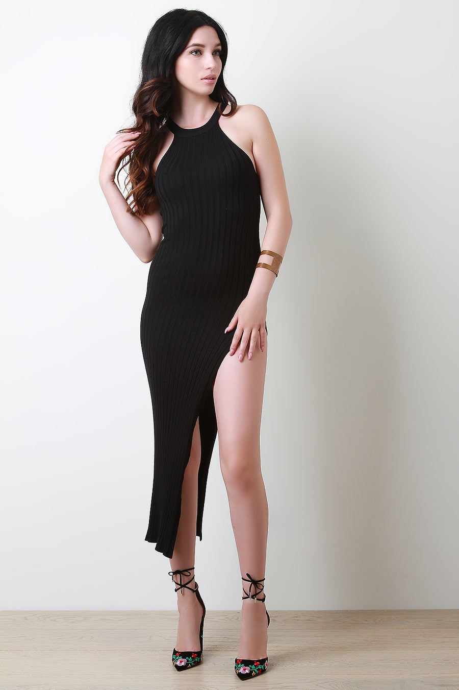 Ribbed Knit Leg Slit Bodycon Dress