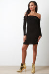 Rib Knit Long Sleeve Bardot Bodycon Dress
