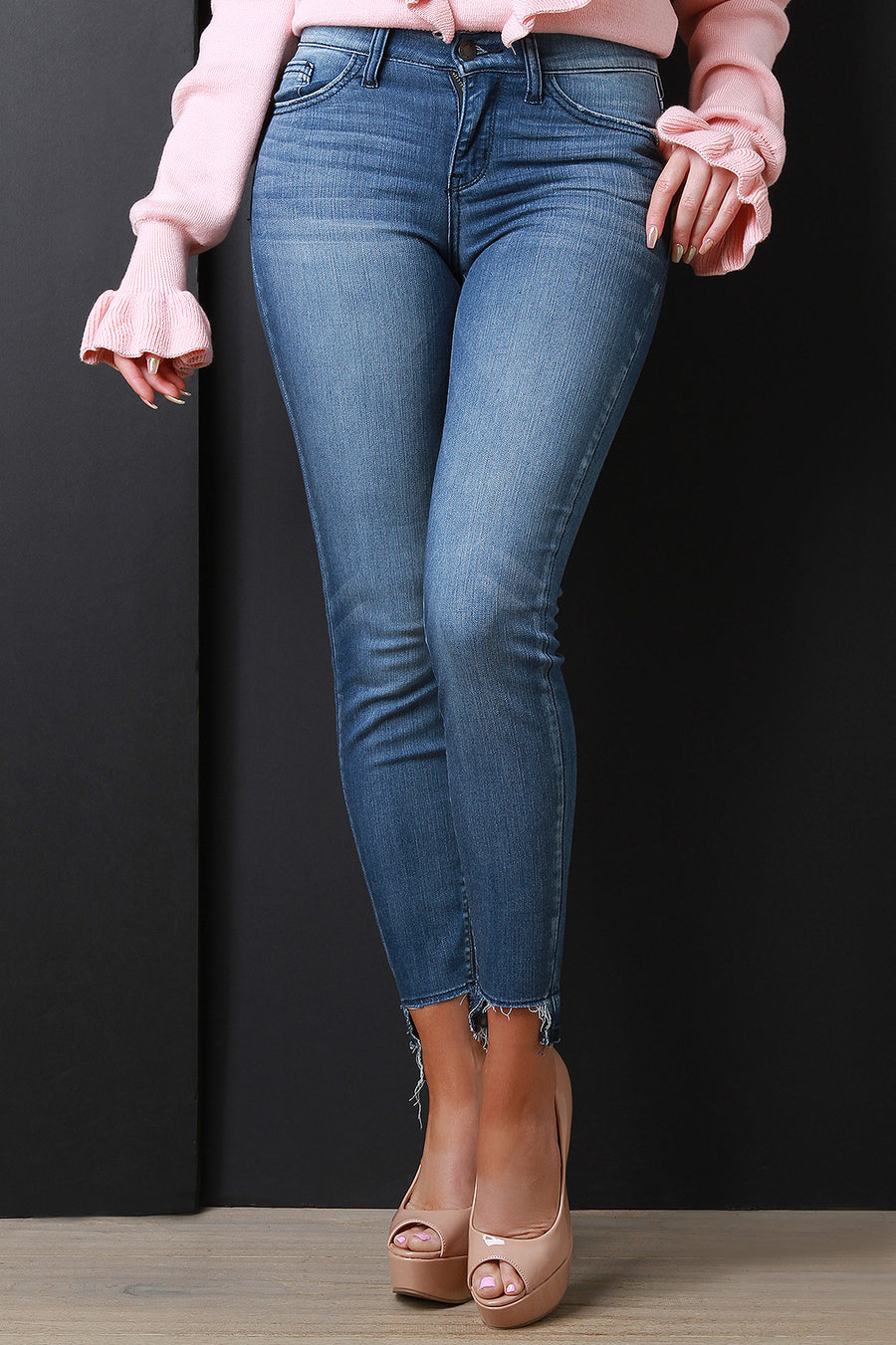Faded Raw Notched Hem Skinny Denim Jeans