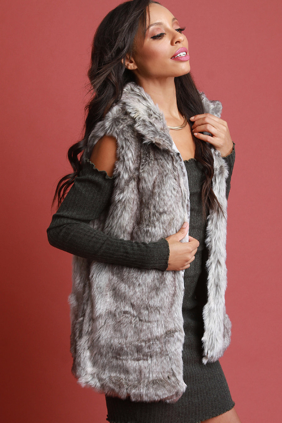 Convertible Stand Collar Faux Fur Vest