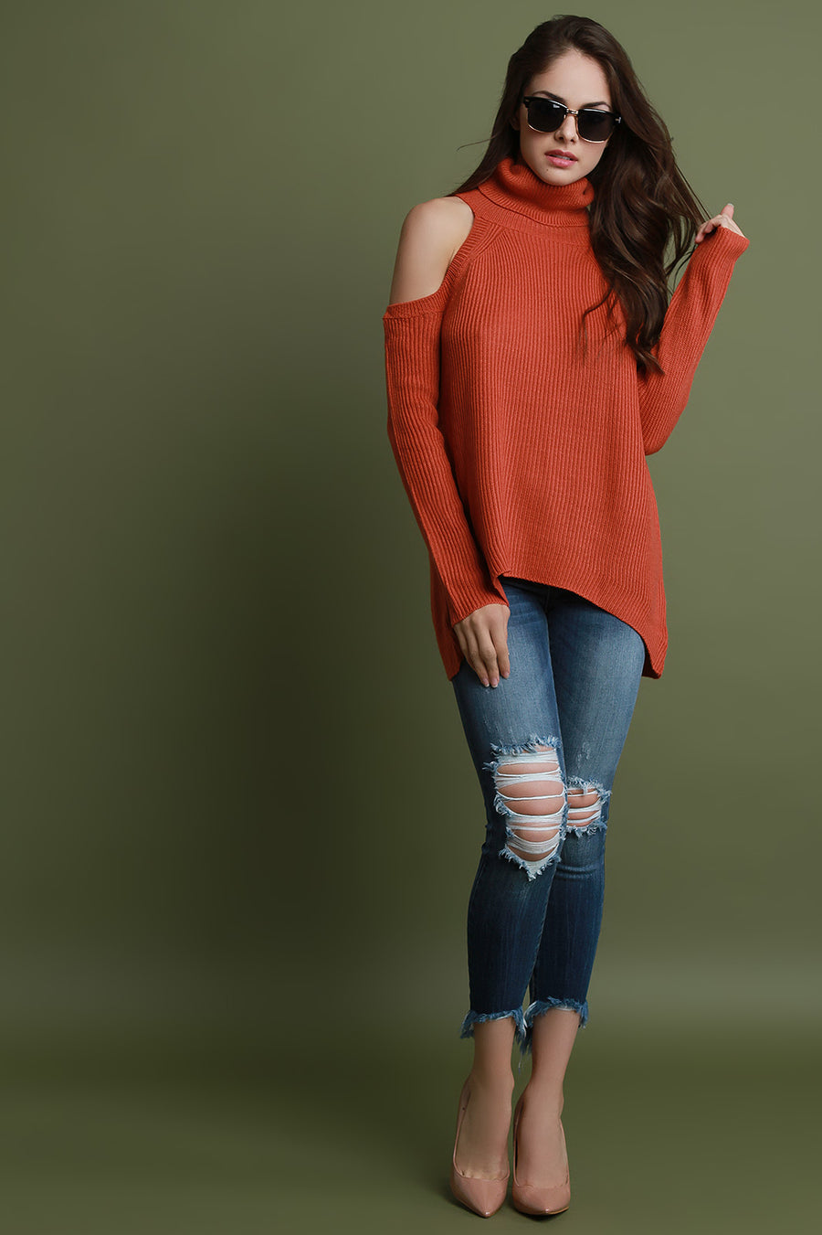 Rib Knit Cold Shoulder Turtleneck Sweater Top