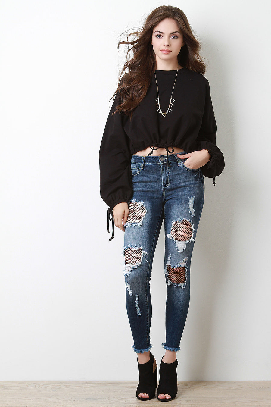 Diamond Fishnet Cutout Denim Jeans