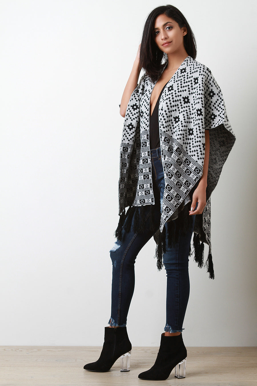 Geo Print Open Front Fringe Poncho