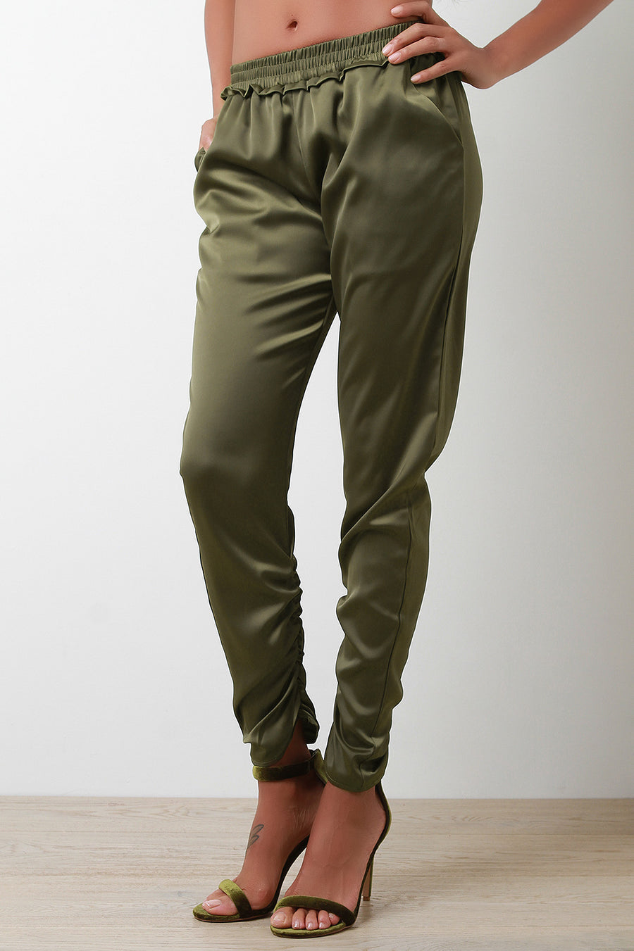 Satin Cinched High Waisted Pants