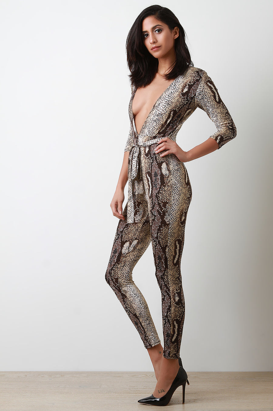 Reptile Deep Plunge Self-Tie Jumpsuit