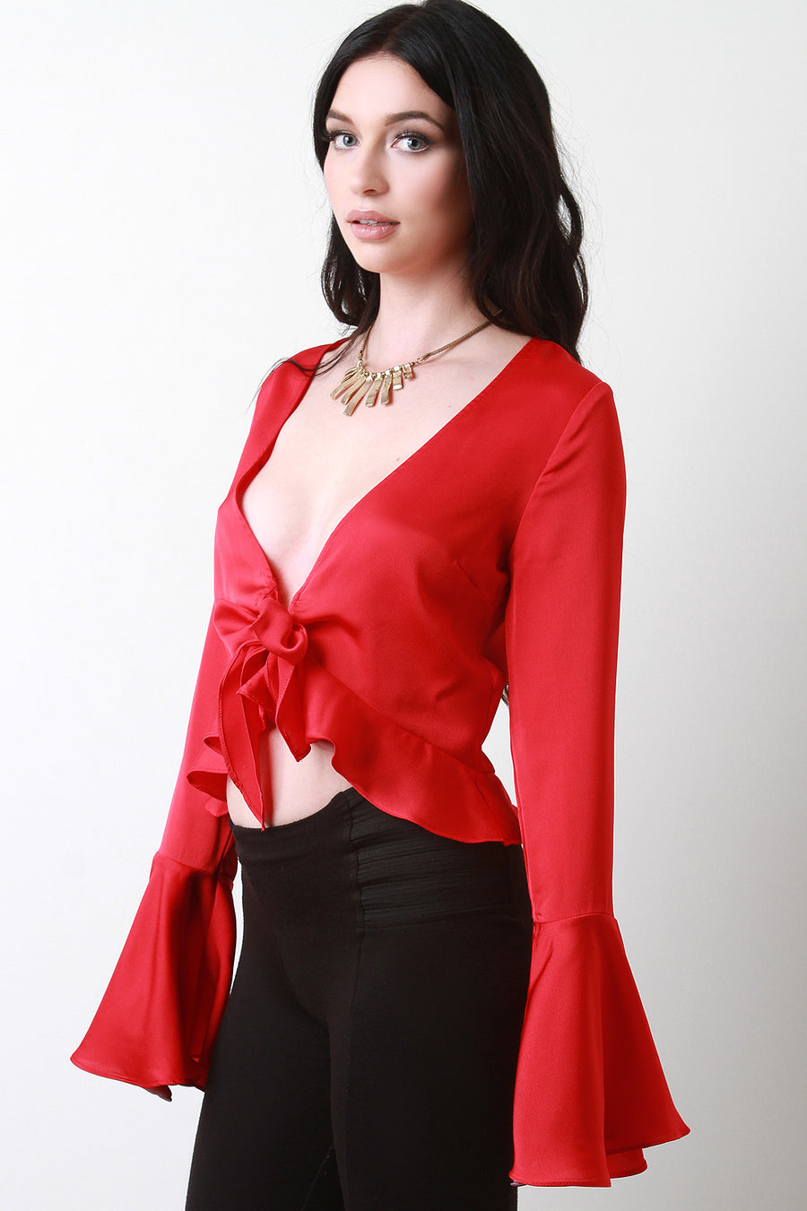 Ruffle Hem Trumpet Sleeve Crop Top