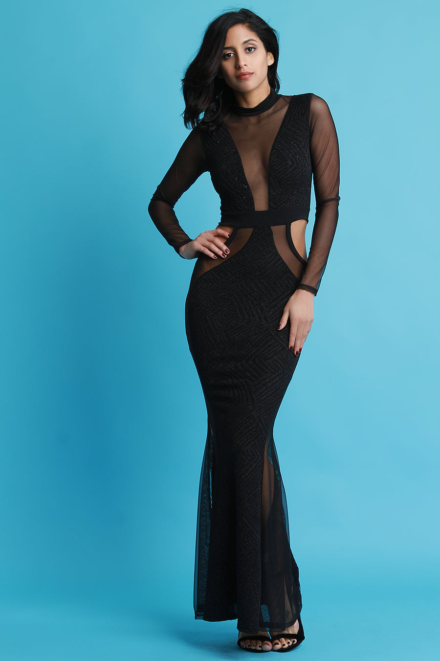 Mesh and Glitter Panel Cut Out Maxi Dress