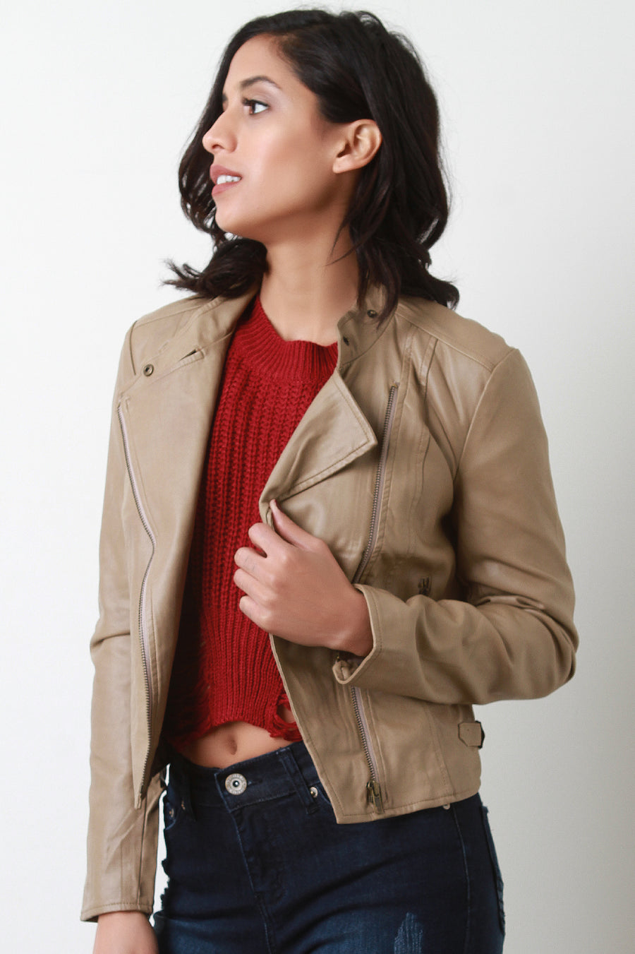 Diagonal Zip Up Vegan Leather Jacket