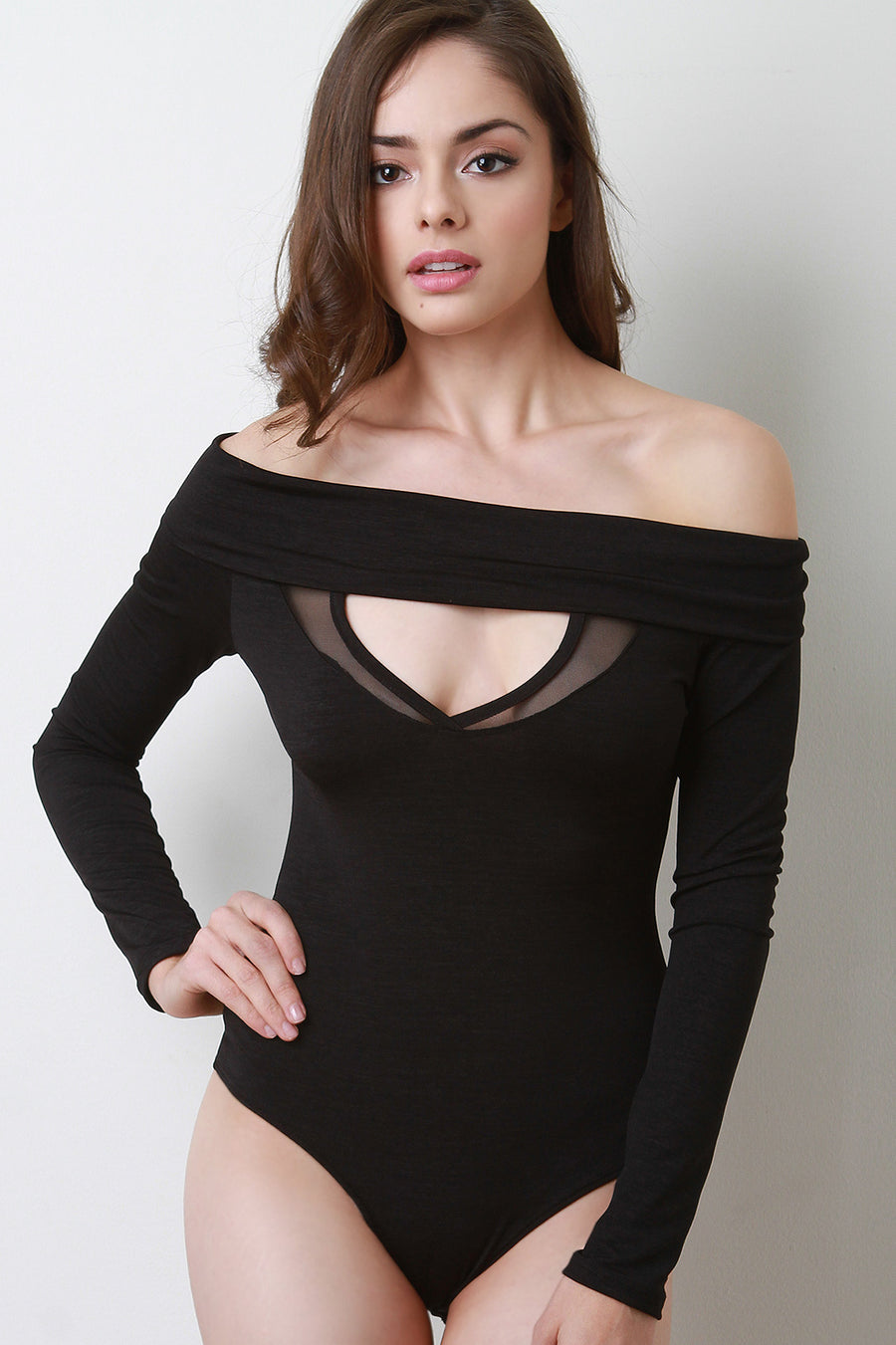 Keyhole Off-The-Shoulder Long Sleeves Bodysuit