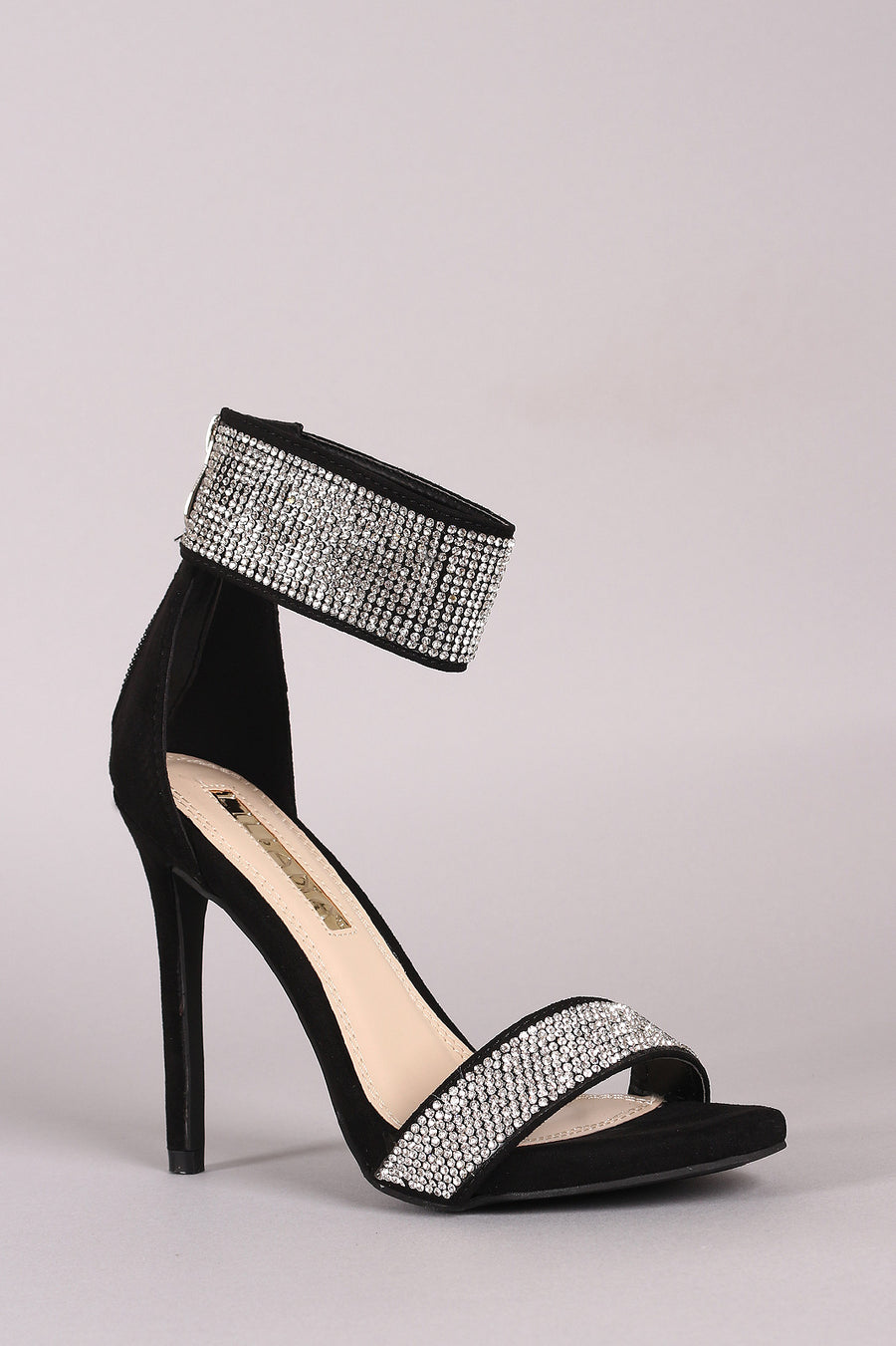 Liliana Suede Rhinestone Encrusted Ankle Strap Open Toe Stiletto Heels