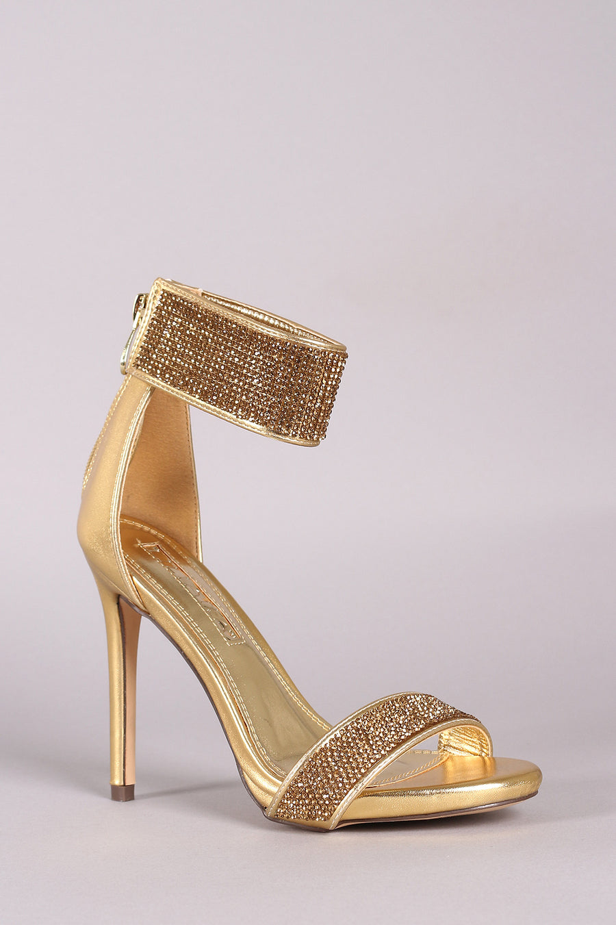 Liliana Patent Rhinestone Encrusted Ankle Strap Open Toe Stiletto Heels