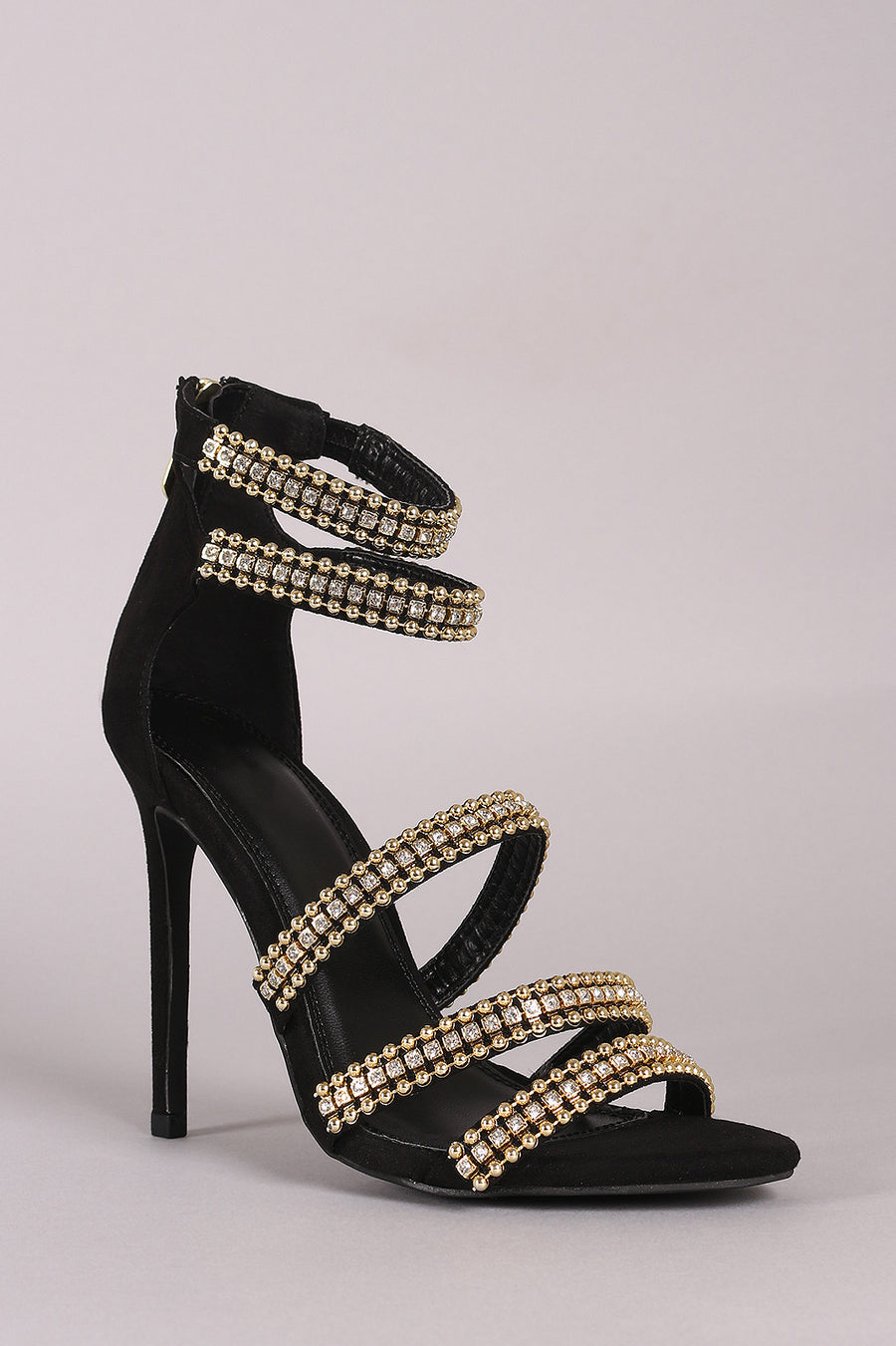 Rhinestone Beaded Accent Strappy Stiletto Heel