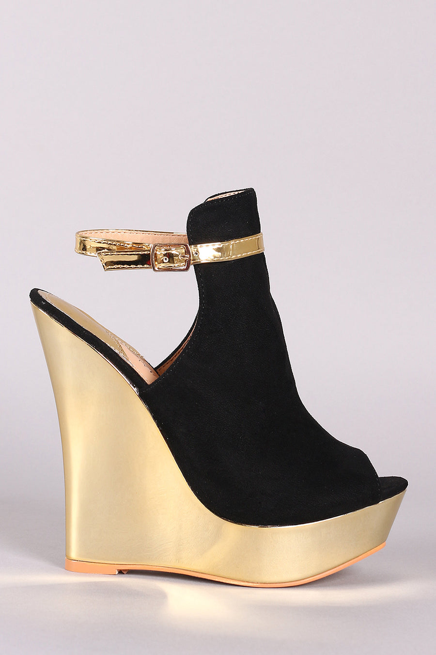 Peep Toe Ankle Strap Mirrored Wedge Heels