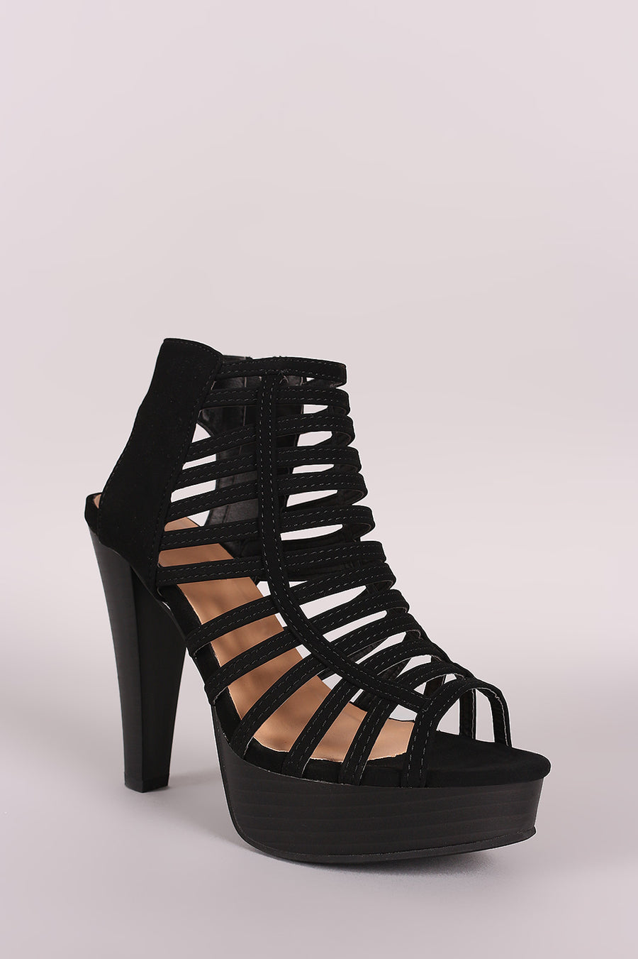 Nubuck Strappy Caged Open Toe Platform Heel