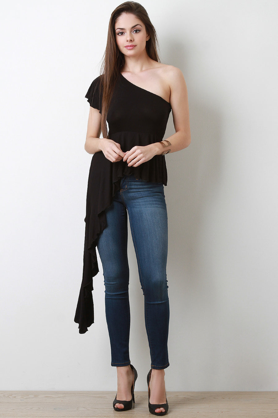 One Shoulder Asymmetrical Peplum Top