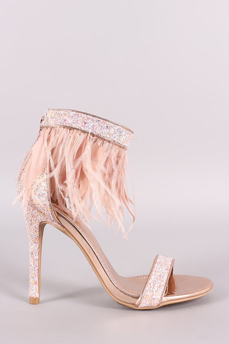Shoe Republic LA Glitter Encrusted Open Toe Feather Stiletto Heel