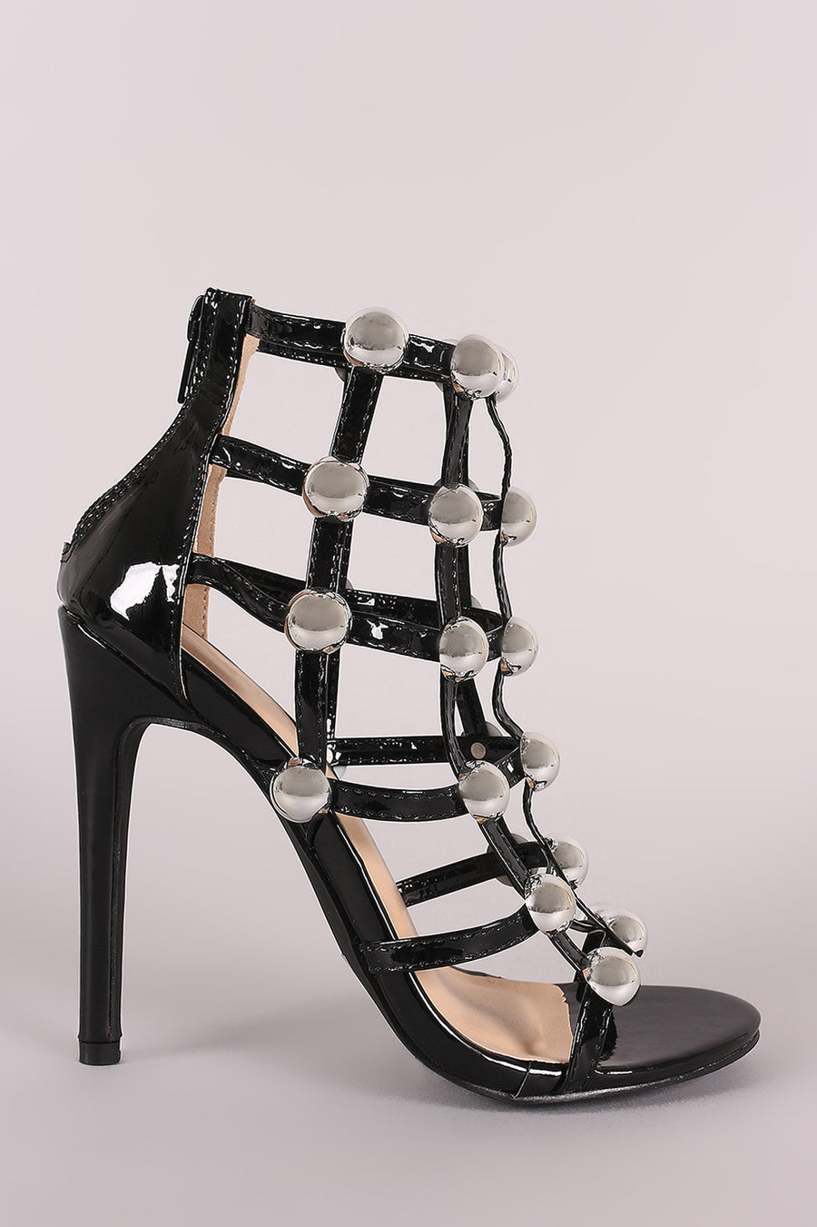 Dome Studded Grid Caged Open Toe Stiletto Heel