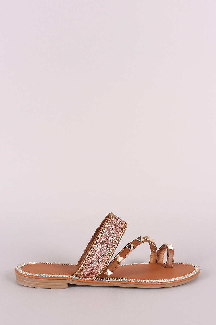 Glitter Encrusted Toe Ring Studded Flat Slide Sandal