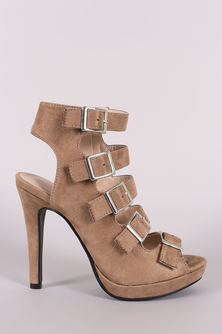 Strappy Vegan Suede Square Buckle Open Toe Platform Stiletto Heel