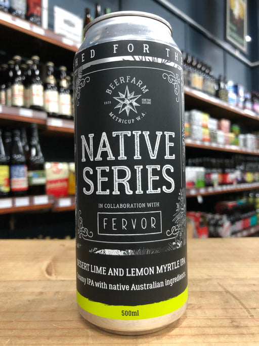 Beerfarm Native Series Fervour IPA with Desert Lime and Lemon Myrtle 500ml Can