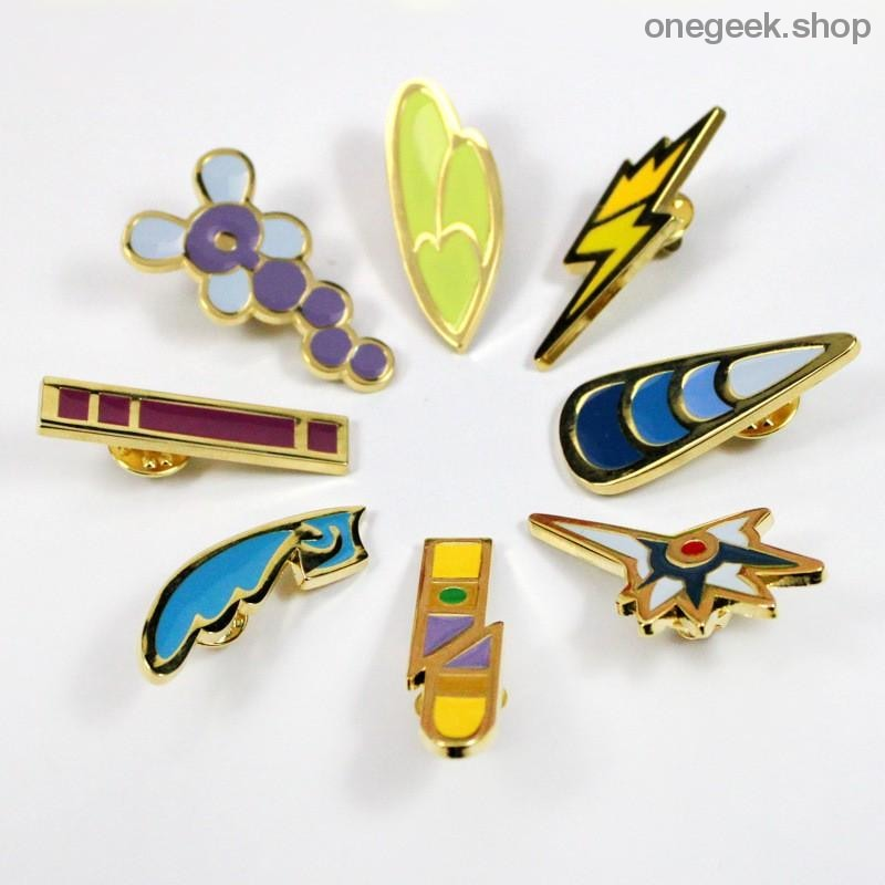 Buy Pokemon Gym Badges: Kanto Johto Hoenn Sinnoh Unova Kalos - 8pcs Set League Region Pins Brooches Best Anime Toys - badge