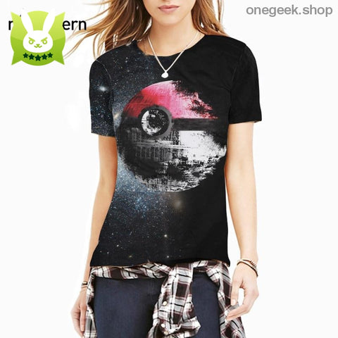 Pokeball Deathstar T-Shirt - L - clothes