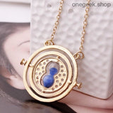Time-Turner Hourglass 360 Degree Rotatable Harry Potter Pendant Necklace - Blue Sand - accessories