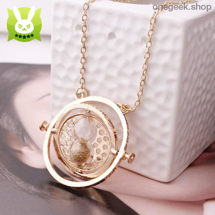 Time-Turner Hourglass 360 Degree Rotatable Harry Potter Pendant Necklace - Gold Sand - accessories