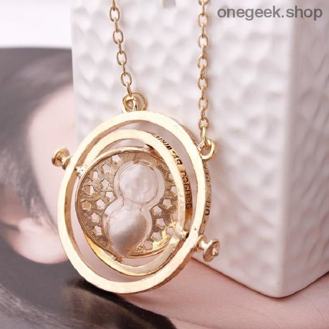Time-Turner Hourglass 360 Degree Rotatable Harry Potter Pendant Necklace - Grey Sand - accessories