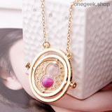 Time-Turner Hourglass 360 Degree Rotatable Harry Potter Pendant Necklace - Pink Sand - accessories