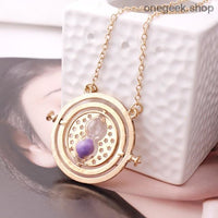 Time-Turner Hourglass 360 Degree Rotatable Harry Potter Pendant Necklace - Purple Sand - accessories