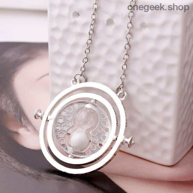 Time-Turner Hourglass 360 Degree Rotatable Harry Potter Pendant Necklace - White Sand - accessories