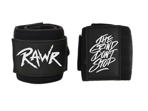 Rawr Wrist Wraps - Wrist Support for Heavy Lifting - Black