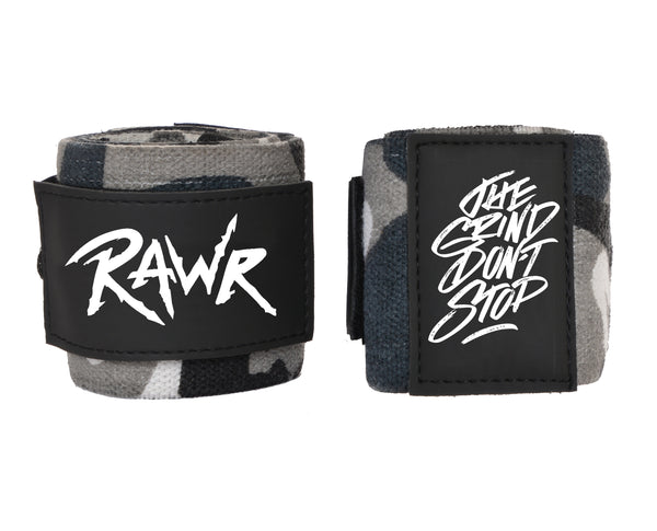 Rawr Wrist Wraps - Wrist Support for Heavy Lifting - Camouflage Black