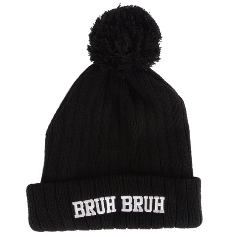 Bruh Bruh Pom Pom Beanie Old Merch - Black