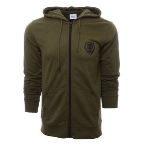 Rawr Lion Premium French Terry Zip-up Hoodie - Olive