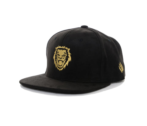 Rawr Lion Suede Snapback Hat - Black/Gold