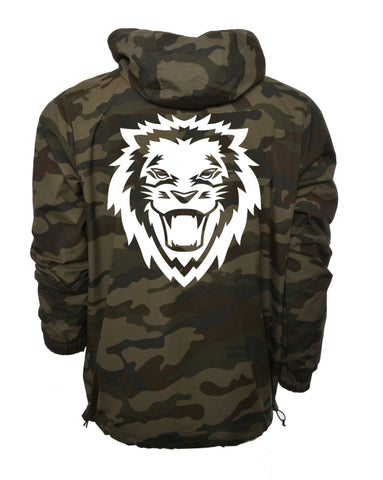 Lion Rawr Waterproof Anorak Windbreaker - Camo Green