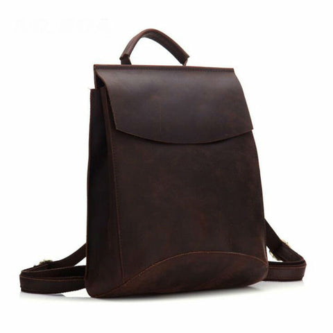 Image of 100% Real Genuine Leather Women Backpack Crazy Horse Cowhide Strap Laptop Daily Backpack Top Quality Handcraft Bag